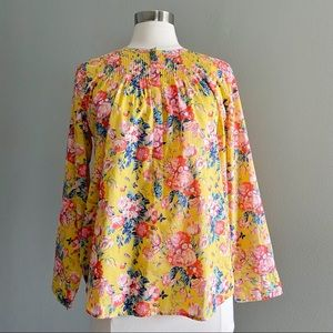 J. Crew Yellow Floral Tunic Blouse  Size 8